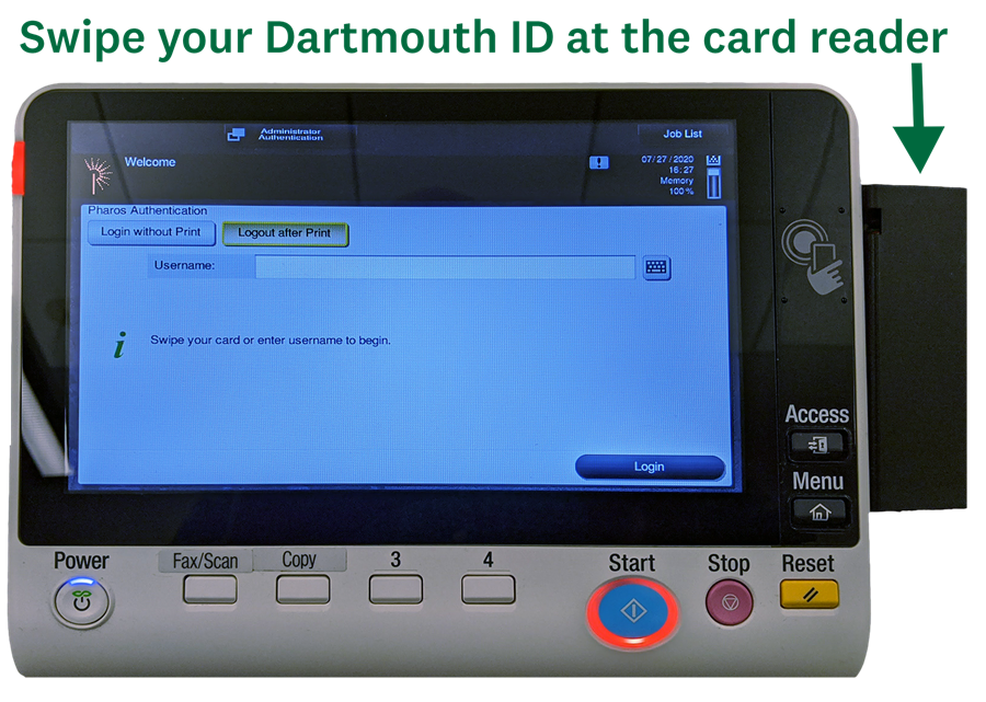 Swipe your Dartmouth ID at the GreenPrint station