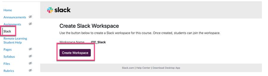 Create workspace button on Slack menu item