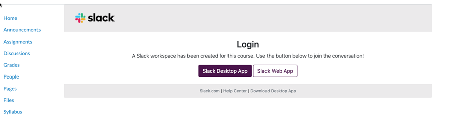 Canvas screen for launching slack