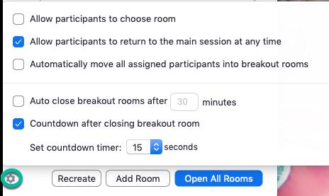 Breakout Room settings