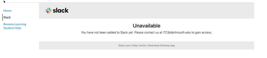 Slack error Unavailable